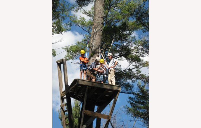 lower school students on a ropes course