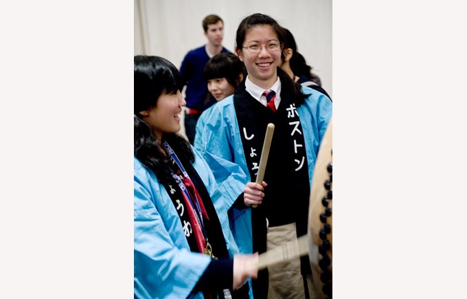 student using Japanese drum