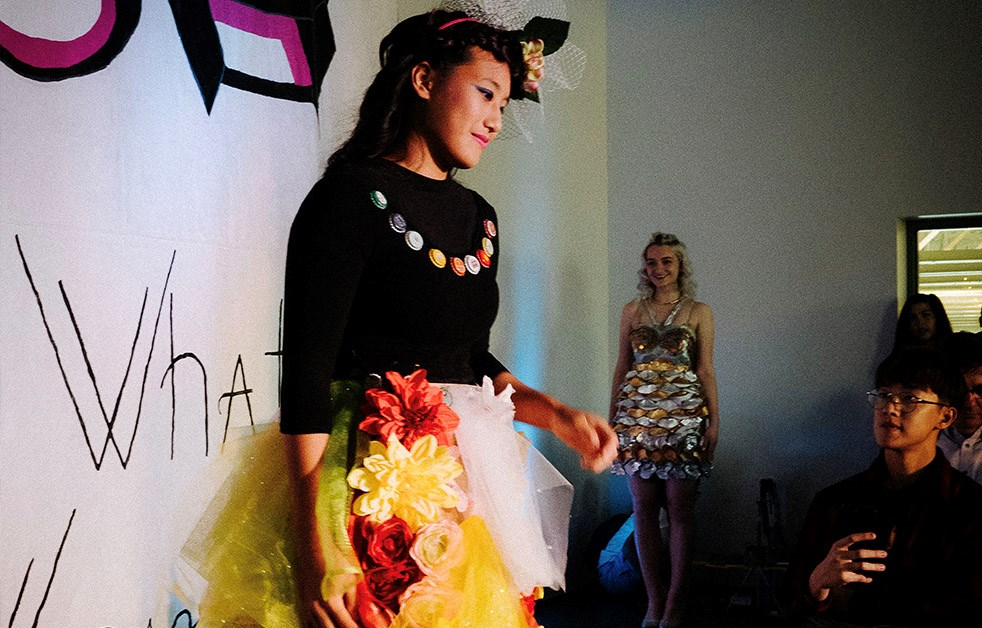 In The Village School's Annual Fashion Show, students independently create and produce designs to showcase.