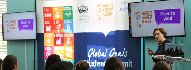 Alison Bellwood, Director of the World's Largest Lesson, addresses Nord Anglia students