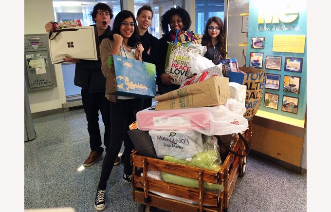 KS4 students clothing drive community service
