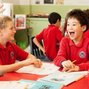 excited students at the British International School of Washington