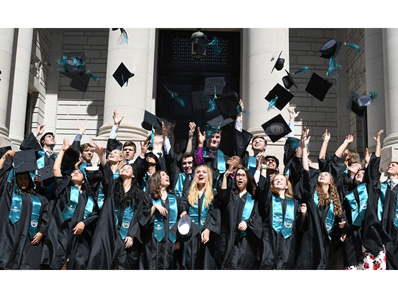 BISW British International School of Washington DC class of 2018 students celebrate graduation with the traditional cap toss