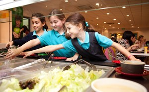 Students having lunch at cafeteria