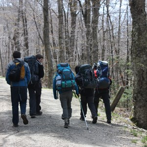 high school students hiking at the British International School Boston