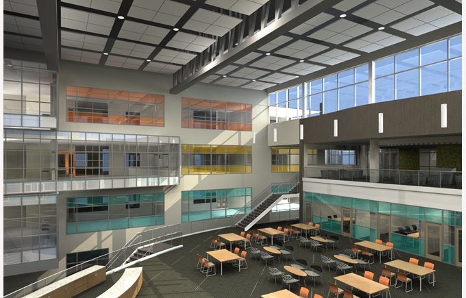 Rendering of a neighborhood space in the new campus.